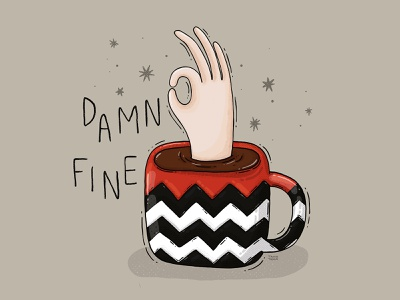 Fine Cup of Coffee hand illustration texture funart agent cooper twin peaks coffee damn fine