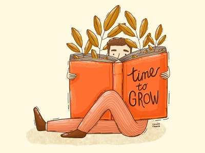 Time to grow bookworm man textures print design editorial contemporary sprout growth reader book illustration