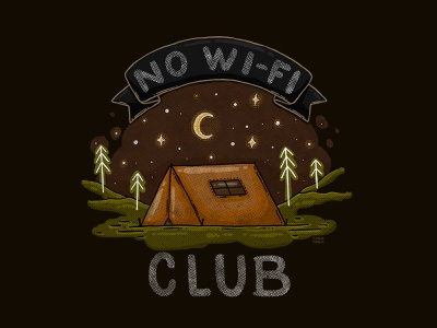 No Wi-Fi Club club night sky outdoorsy explore wanderlust traveling outdoors intothewild tshirt print moon stars camping tent camping no wifi club illustration