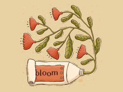 Bloom Tube branding promo cream tube cream skincare textures illustration beauty summer spring inspired artisctic red flower floral paint tube tube sprout growth flowers