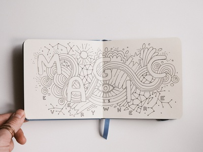 Magic is everywhere typography eye sun shapes colorful sketch 3 sketchbook spread magic doodles doodle illutration