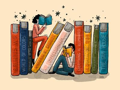 Book Day editorial illustration illustration reading list textures book worm bookshelf library reading readers books book day world book day