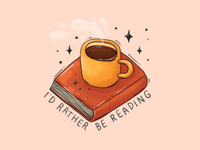 I'd rather be reading sparkles illustration textures mug reading coffee book
