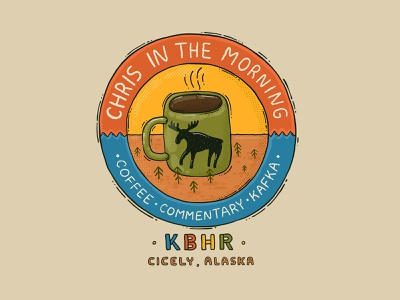 Cicely, Alaska 90s logo chris in the morning chrisinthemorning kbhr kbear morning brew coffee moose northern exposure
