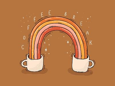 Coffee Break good vibes sparks morning routine coffee cup caffeine rainbow coffee break illustration