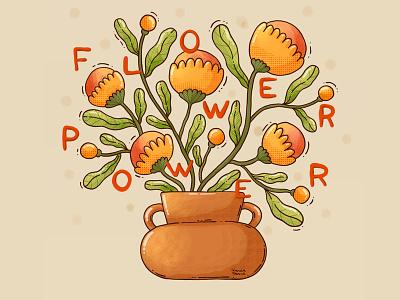 Flower Power textures flowers bloom color vase flower illustration