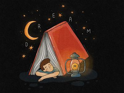 Dream stars illustration dreamy moon reading book dreaming dream