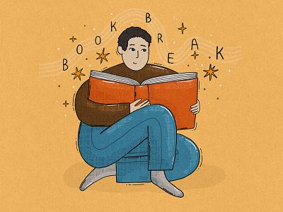 Book Break 2d illustration character open book reading break books book lover book reader book