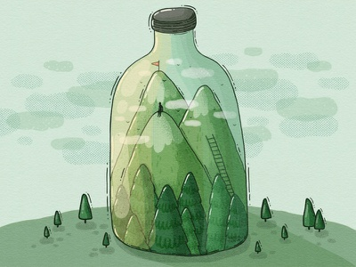 Bottle Up forest woods mountain achievement personal explorer isolated outdoors indooorsy nature bottle 2d illustration