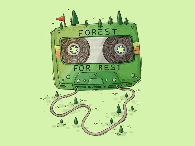 Forest - For Rest imaginary explore hike trail trees nature woods green 90s 80s vitnage retro music mixtape tape cassettee cassette rest forest