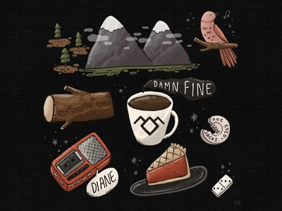 Meanwhile pie bird coffee aesthetics domino one eyed jacks the log illustration damn fine diane agent cooper fan art meanwhile twin peaks
