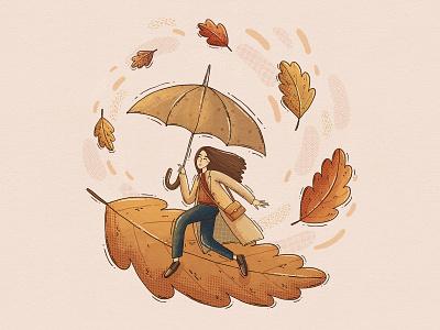 Fall Swirl cozy october umbrella trench coat gilr swirl leaves autumnal autumn fall illustrative