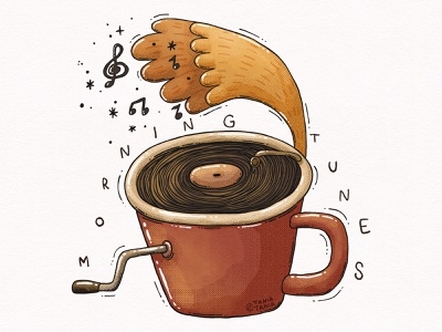 Morning Tunes notes morning mug cup tune sound record player music coffee illustration