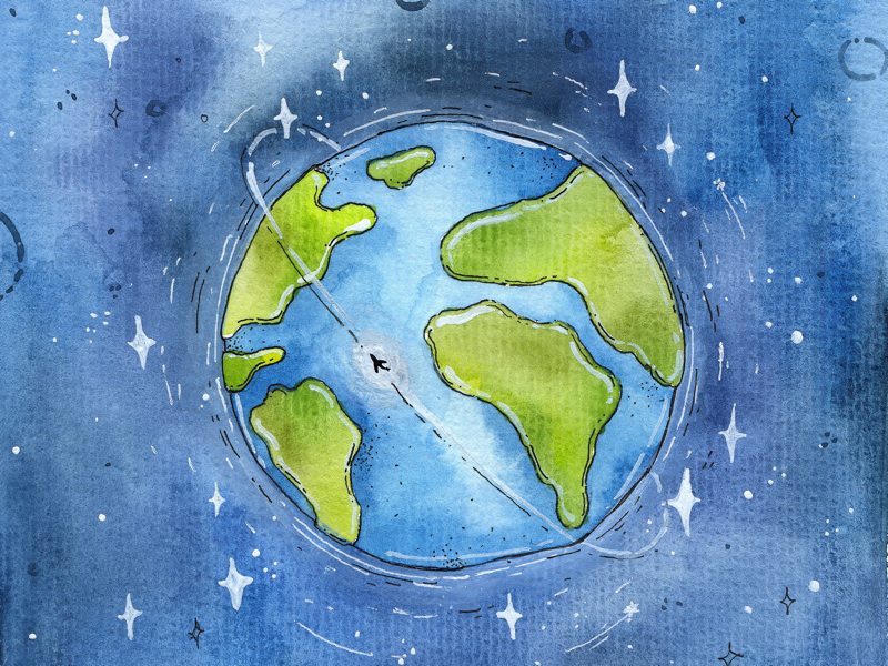 Earth Day lovetheearth space art handdrawn illustration watercolors planet gogreen earth day