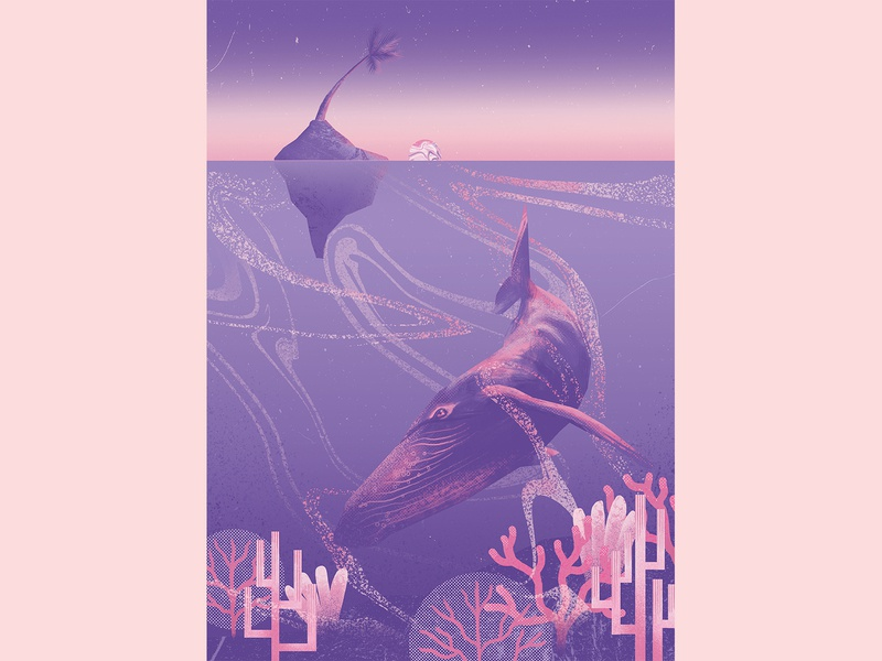 WHALE whale tropical artwork art illustration