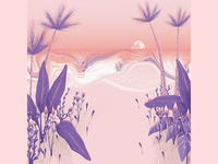 beach at sunrise jungle tropical artwork art illustration