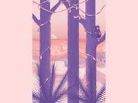 Rest monkey poster jungle tropical artwork art illustration