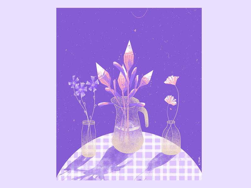 10 week - stillherestilllife plants flowers art artwork illustration