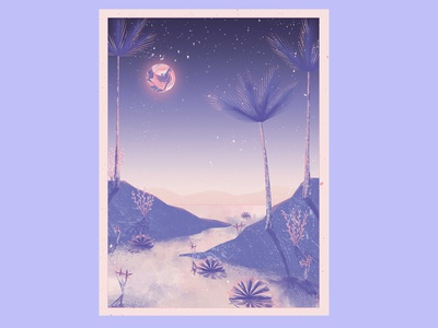 Somewhere in the desert the moon is shining desert jungle tropical artwork art illustration