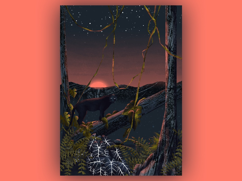when everything wakes up puma art jungle artwork tropical illustration