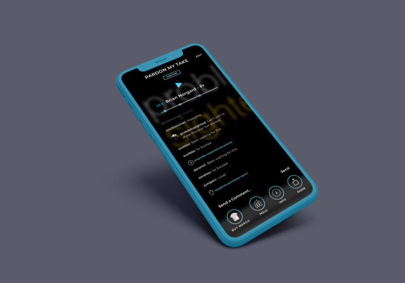 Live Podcast Chat Screen grey social app podcast live iphone branding product design ios blue app design ux ui