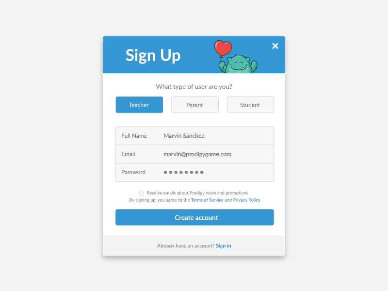 Prodigy Sign-Up by Marvin Sanchez on Dribbble