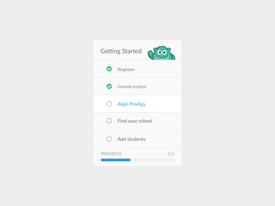 Getting Started new user ui flat design ux getting started prodigy onboarding checklist list