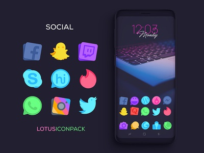 Social Icons : Lotus Icon Pack creative iconpack justnewdesigns icons tweeter instagram whatsapp tinder skype twitch snapchat facebook