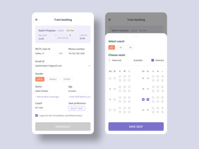 Train seat booking app