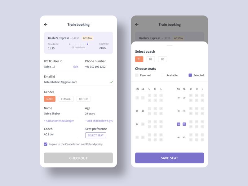 Train seat booking app product design uxdesign app figmadesign figma sketch ui minimal design