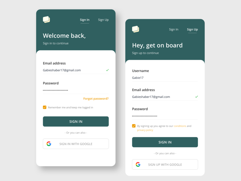 Log in and Sign page daily ui daily 100 challenge minimal user experience mobile design system colors sketch product design userinterface design