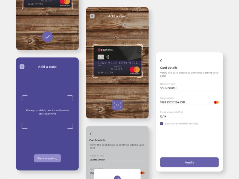 Add credit/debit card using OCR product design product dailyui daily ui daily ui 002 daily 100 challenge figmadesign figma app ux ui minimal design