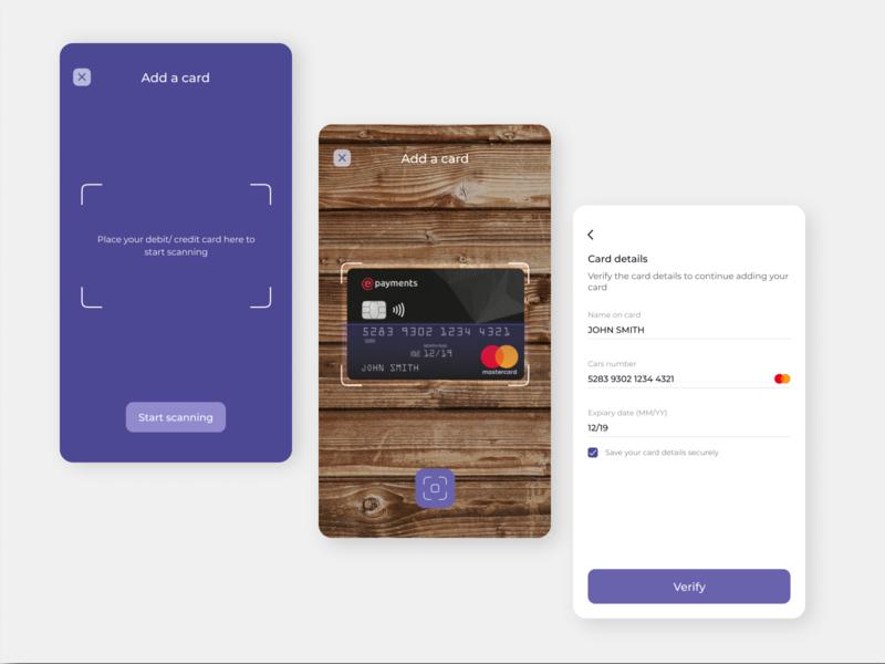 Add credit/debit card using OCR daily ui 002 daily ui daily 100 challenge figmadesign figma app vector ui minimal design