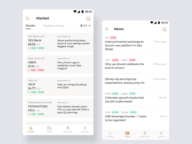 Stocks market news and information app design product design app icon ux figmadesign sketch ui minimal design