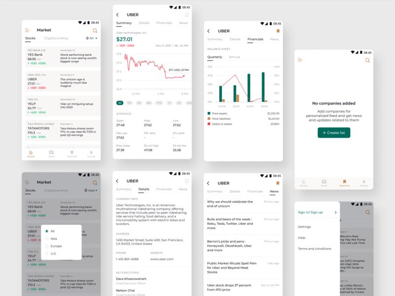 Stocks market news and information color palette product design app ux typography figmadesign ui sketch minimal design