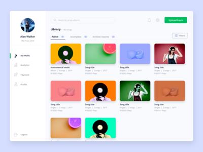 Music management dashboard design figmadesign sketch ux minimal ui website design product design design