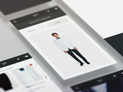 Stitch & Tie customization rental tuxedos suits ecommerce apparel screens mobile website ui ux