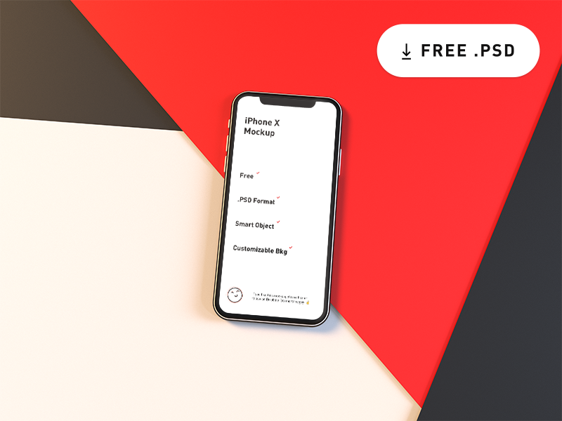 Free iPhone X Mockup abstract render realistic customizable psd smart object mockup x iphone iphone x download free