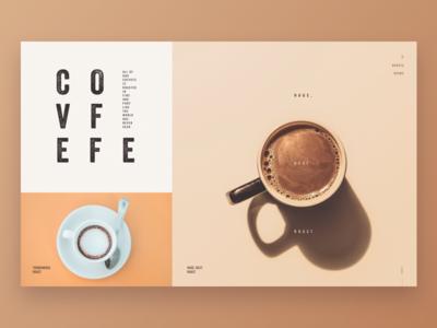 Covfefe humor funny minimal clean coffee beige gridded grid hero desktop ux ui