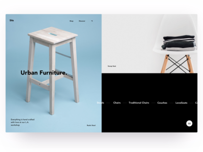 Sits modern urban interior chair furniture grid section hero desktop web ux ui