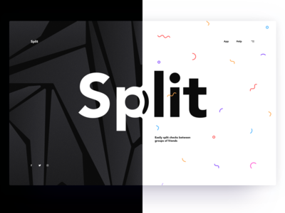 Split black and white layout magazine split header website web desktop section hero ux ui