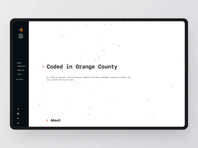 Coded in Orange County: Hero Section white black pattern physics animation particles live development ux ui