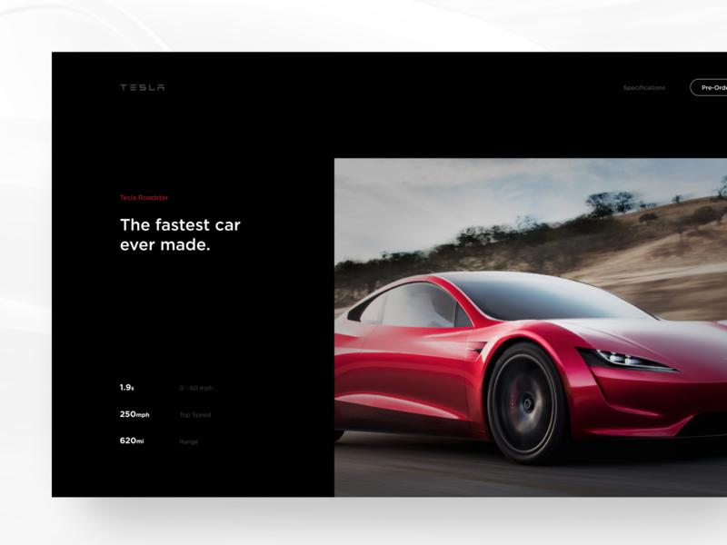 Tesla Roadster UI sportscar car dark black hero hero section automotive roadster tesla ux ui