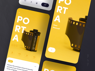 Porta mobile typography swiss page product app colorful bright yellow ux ui