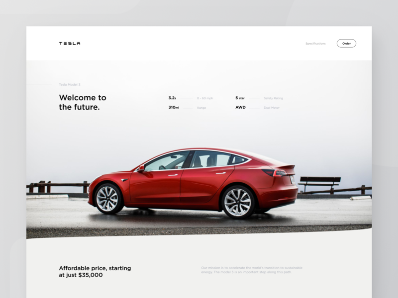 Tesla Model 3 Page web design grid hero web website auto hero section clean car automotive tesla ux ui