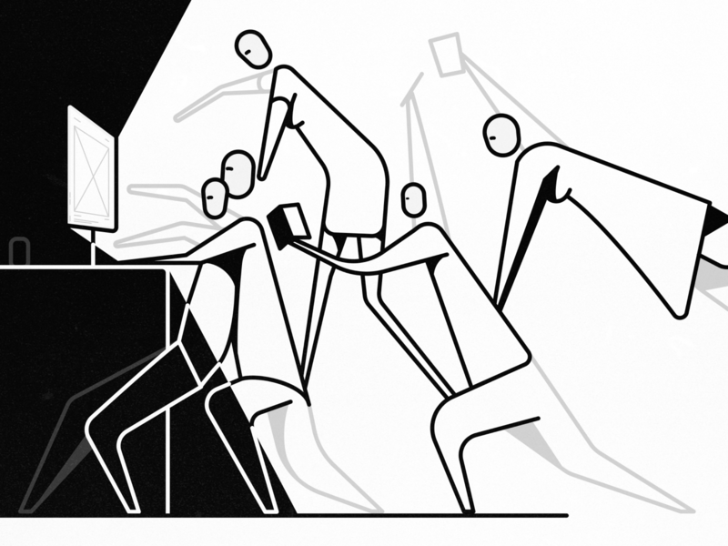 Specialists drawing art article blog ux grayscale line art line black and white illustration