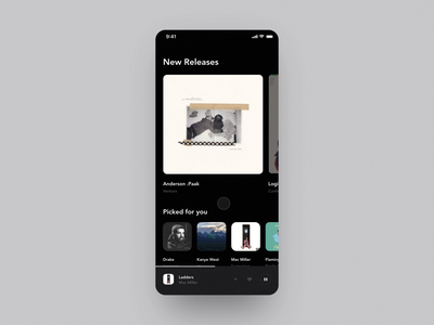 Music Discovery App cards ios prototype interaction animation media music black dark ux ui app mobile