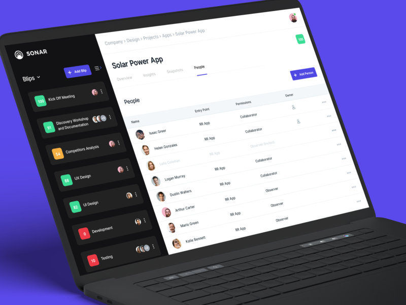 Sonar Project Management Tool - People page uiux design uiuxdesign userexperiencedesign userexperience userinterfacedesign userinterface uiux ui popups popup window popup design webdesigns webdesign designweb webapps webapp webapplication webapp design designinspiration design agency