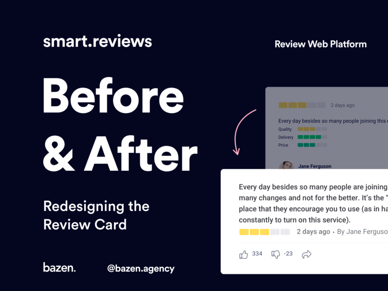 Smart.Reviews - Redesigning the Review Card redesigned website design design thinking design process webdesign web design website webapp design webapplication webapps uidesigner uidesign clean webapp uiuxdesign uiux userinterface designagency design agency ui
