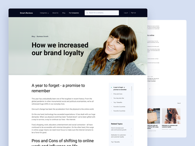 Smart.Reviews - Article Page layout business branding design brand identity brand design branding blog article page graphic design bazen agency design design agency uiux webapp uidesigner uiuxdesign userinterface ui